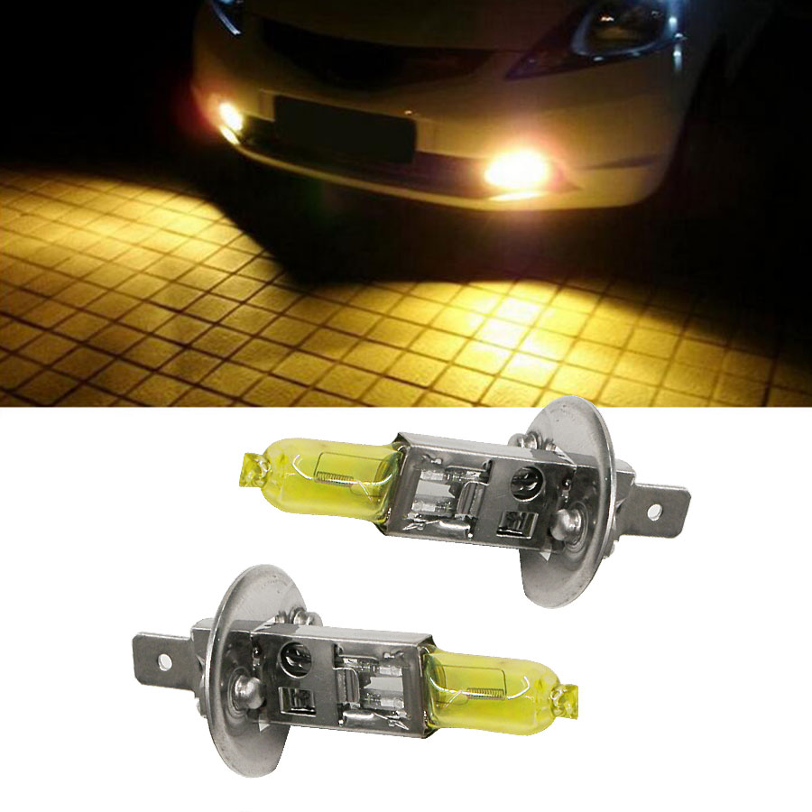 2PCS/Pair 12V H1 55W Halogen Fog Lamp Bulb Yellow 3200K-3500K Quartz Glass Car Light Source For Auto Headlight Car Styling