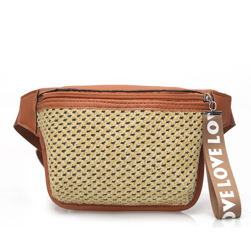 Straw Weave Beach Fashion Women Waist Bags Patchwork Design Brief Young Fanny Packs Ladies Summer Travel Chest Pack Belt Bag