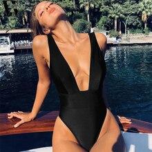 dc24ec08dc280c WYHHCJ Cut stroje kąpielowe kobiety 2019 stały strój kąpielowy kobiet  wysokiej talii Monokini dekolt w serek