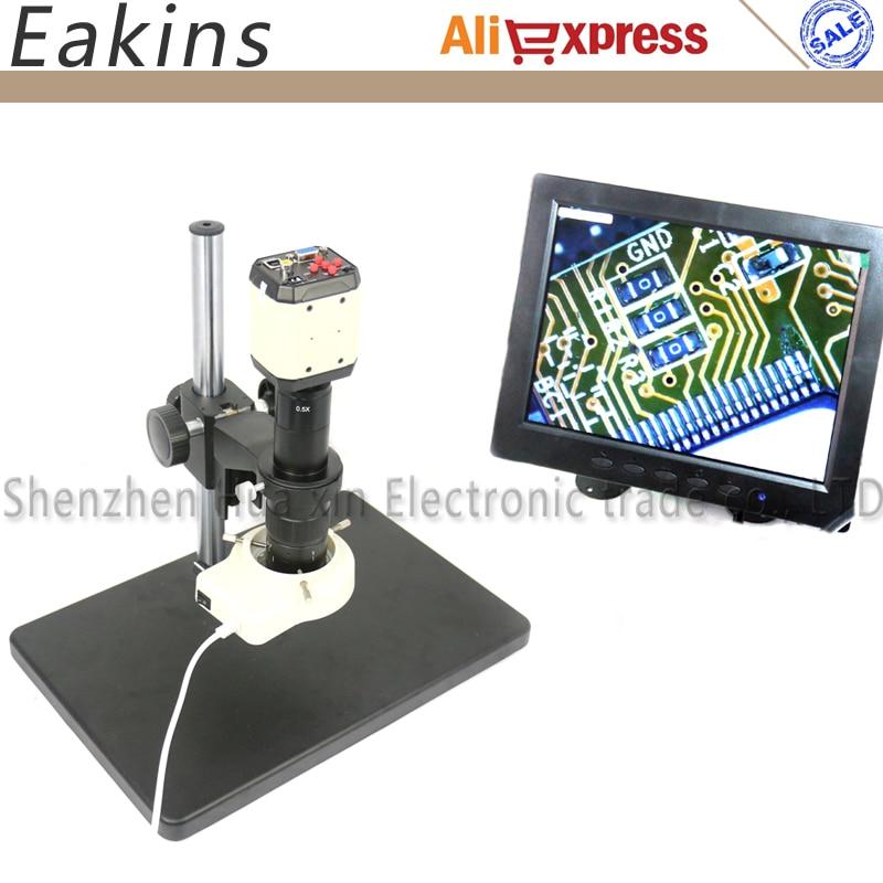 VGA USB Microscope Camera for Industry Lab AV TV USB Output Video Recorder+180X C-mount Lens+56 LED Ring Light+Big Stand+8 LCD