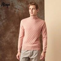 Ребристые вязаный свитер Для мужчин 100% коза, Кашемир Пуловер, Рождественский свитер Для мужчин s теплые модные розовые джемперы с воротнико
