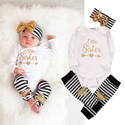 0 18M Newborn Baby Girls Clothes Little Sister Long Sleeve font b Bodysuit b font Romper