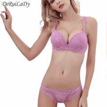 DeRuiLaDy New Sexy Charming Underwear Women Bra Set Vs Lingerie Set Luxury Lace Embroidery Bra+Panties Push Up Bra&Brief Sets