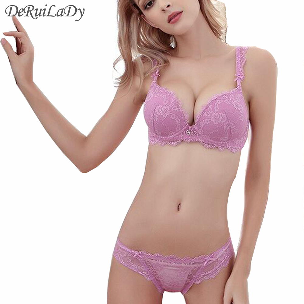 DeRuiLaDy New Sexy Charming Underwear Women   Bra     Set   Vs Lingerie   Set   Luxury Lace Embroidery   Bra  +Panties Push Up   Bra  &  Brief     Sets