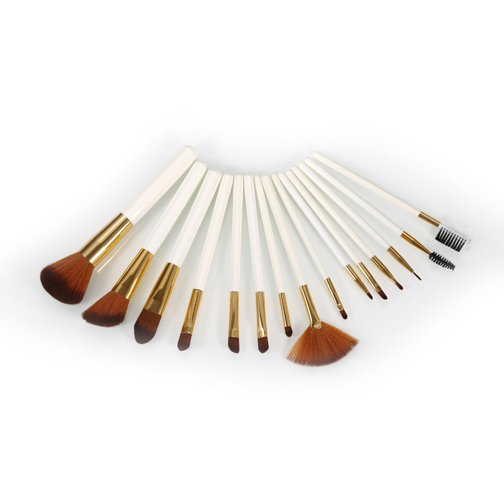 Pro 15pcs Makeup Brushes Set Cosmetic Brush Kit Fundation Powder Lip Shadow Contour Fashion Make Up Tool With Leather Case