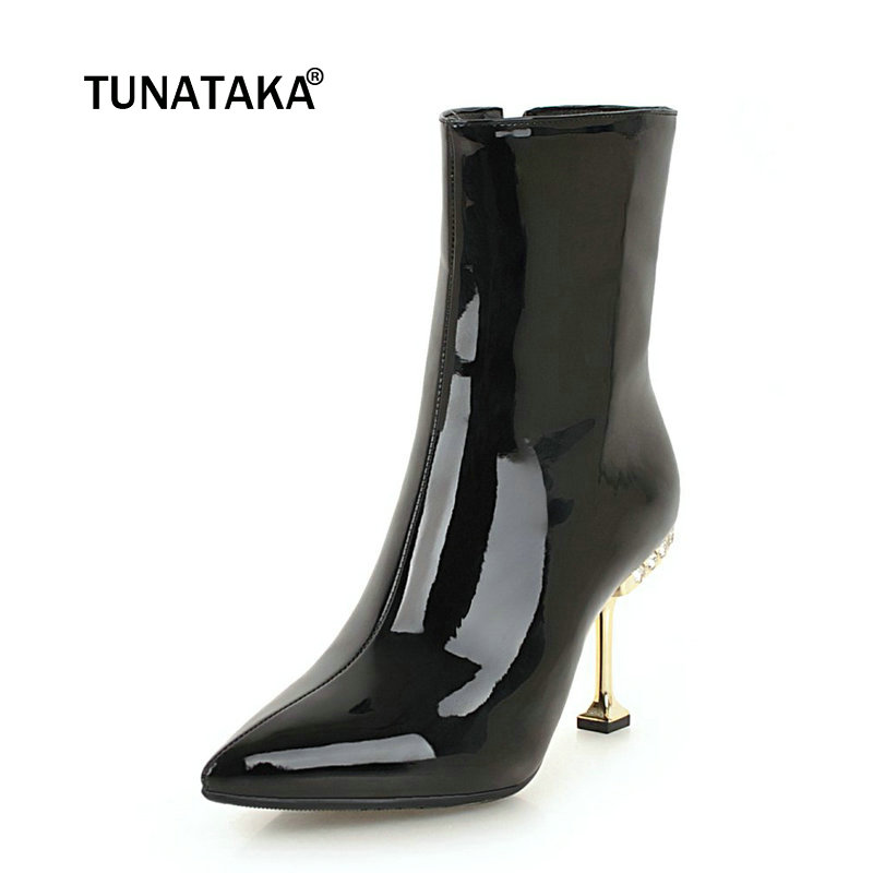 Ladies Sexy Soft Patent Leather Thin High Heel Ankle Boots Fashion Crystal Side Zipper Pointed Toe Women Warm Winter Shoes Red fashion rivet thin high heel genuine leather ankle boots women side zipper pointed toe winter shoes black wine red