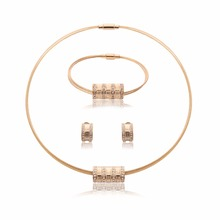 Hot Sale Stainless Steel Torques Necklace Earrings Bracelet Jewelry Set Gold Color Women Wedding Bridal Jewelry Set & More