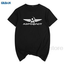 GILDAN Aeroflot AIRFORCE RUSSIAN RUSSIA CCCP Men T-shirt Top Lycra Cotton men T shirt