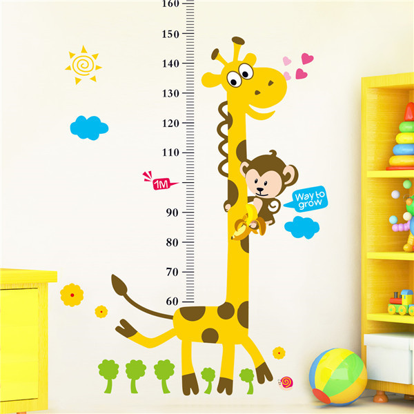 Cute Giraffe Children Wall Kindergarten Height Growth Chart Kids