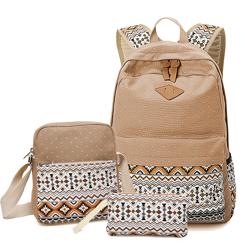 Dot Canvas Printing Backpack Women School Back Bags For Teenage Girls Cute Black Set Travel Backpacks Female Bagpack Rucksack #2