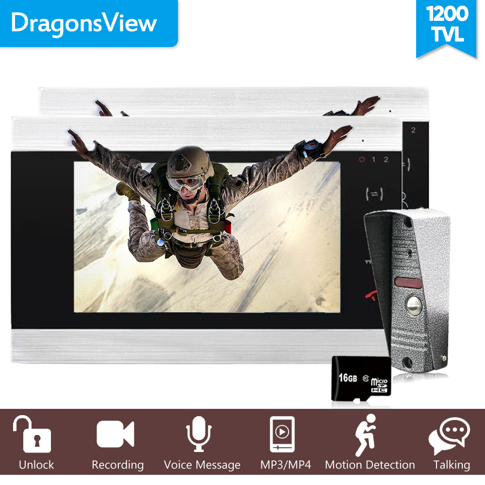Dragonsview 7 Inch Video Door Phone SD Card Supported Video Intercom Record System 2 Monitors Intercom 1 Doorbell Panel 1200TVL