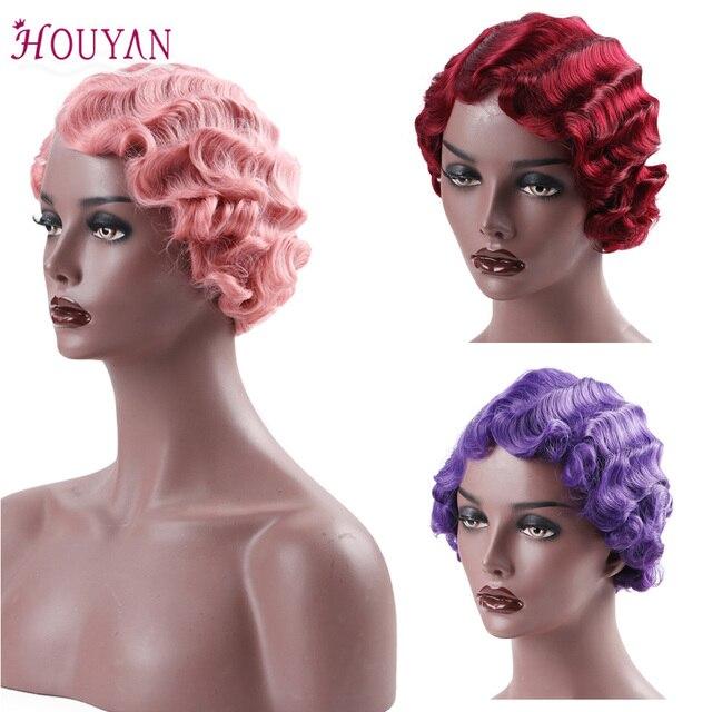 Pelucas de pelo humano frontal de encaje de HOUYAN ondas negras de dedo para mujeres pelo africano pelucas sintéticas para mujeres negras cortas pelo