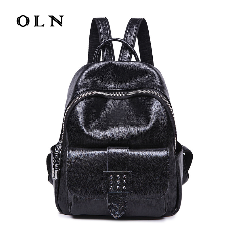 OLN Luxury Genuine Leather Women Casual Backpack Natural Cowhide Female Backpack Leisure School Bag Girl Student Shoulder Bag fashion luxury genuine leather backpack women plaid stripe black soft casual shoulder bags female backpack girl school bag m007