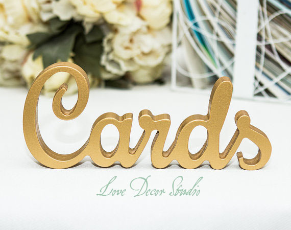 wedding decoration letters Wedding Cards Sign for-Golden custom lettersCards - Wedding Sign for Reception Decorations-