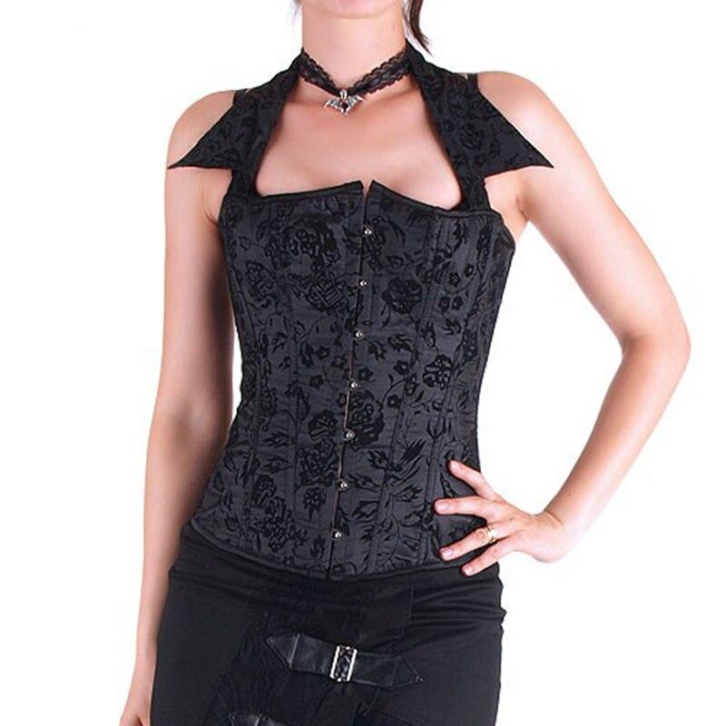 Black Floral Dobby Halter Collar Gothic Corsage Sexy Bustier Corset Burlesque Costumes Espartilhos E Corpetes Corsets Para Festa