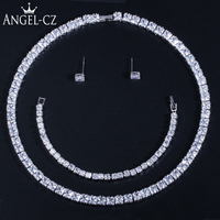 ANGELCZ Luxury Princess Cut Cubic Zirconia Wedding Chocker Necklace Earrings Bridal Party Square Jewelry Set With Bracelet AJ154