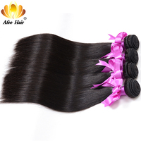 Aliafee Brazilian Straight Hair Weave Bundles 4 Bundles Deal 1b Color 100 Human Hair Extension 8
