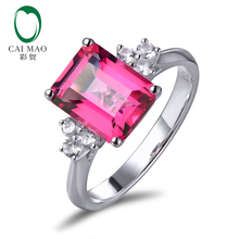 Real 14K White Gold 3.21CT Emerald Cut Pink Topaz Engagement With 0.28ct white sapphire Ring Free shipping