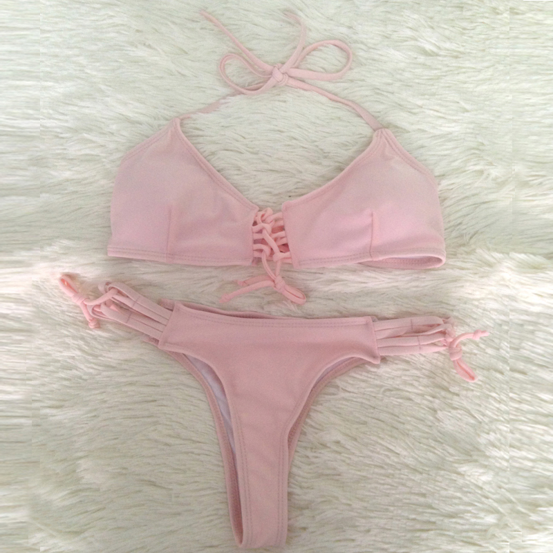 Venta al por mayor Pink Bikini Hot Sexy Strappy Tangas traje de baño - Ropa deportiva y accesorios