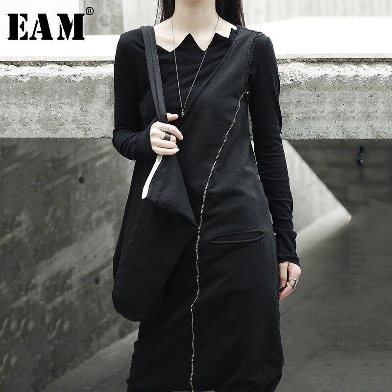 [EAM] 2018 Новый Осень Зима черный для женщин мода прилив дикий асимметрия тонкий лодыжки-штаны длиной до лодыжки двойной карман комбинезоны дл...