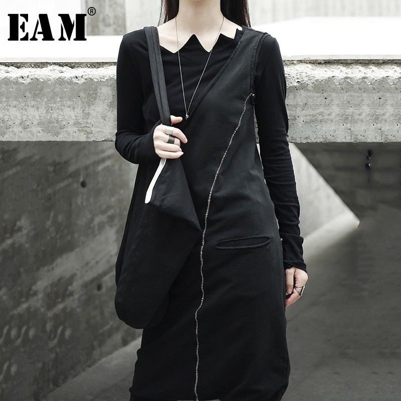 [EAM] 2019 New Spring Black Women Fashion Tide Wild Asymmetry Slim Ankle-leng Pants Double Pocket   Jumpsuits   LA915