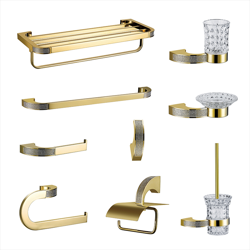 Brass Gold Bathroom Accessories Set Toothbrush Holder Metal Soap Dish Polished with Crystal Bathroom Sets 5pcs Cut Glass Hook image