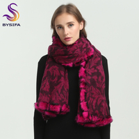 [BYSIFA] Winter Women Wool Cashmere Scarves Wraps Fashion Brand 100% Wool Rabbit Hair Fur Long Scarf Pashmina Poncho 180*70cm