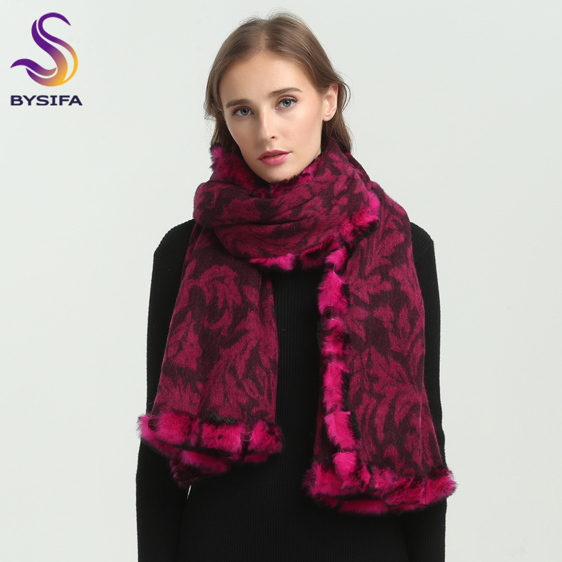 [BYSIFA] Winter Women Wool Cashmere   Scarves     Wraps   Fashion Brand 100% Wool Rabbit Hair Fur Long   Scarf   Pashmina Poncho 180*70cm
