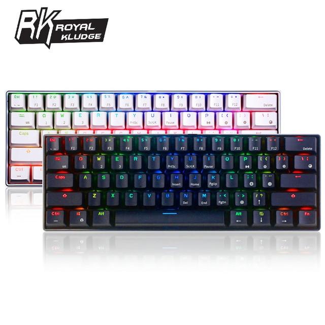 Royal Kludge RK61 ergonomique bluetooth filaire double Mode 60% RGB lumière mécanique clavier de jeu pour ordinateur portable tablette ou téléphones mobiles