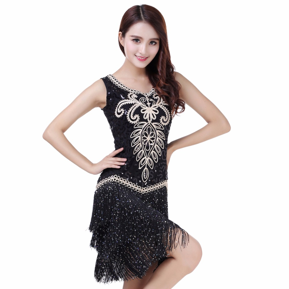 03dd0919b41c Sexy Women O Collar Sleeveless Beads Sequin Fringe Latin Dance Dress ...