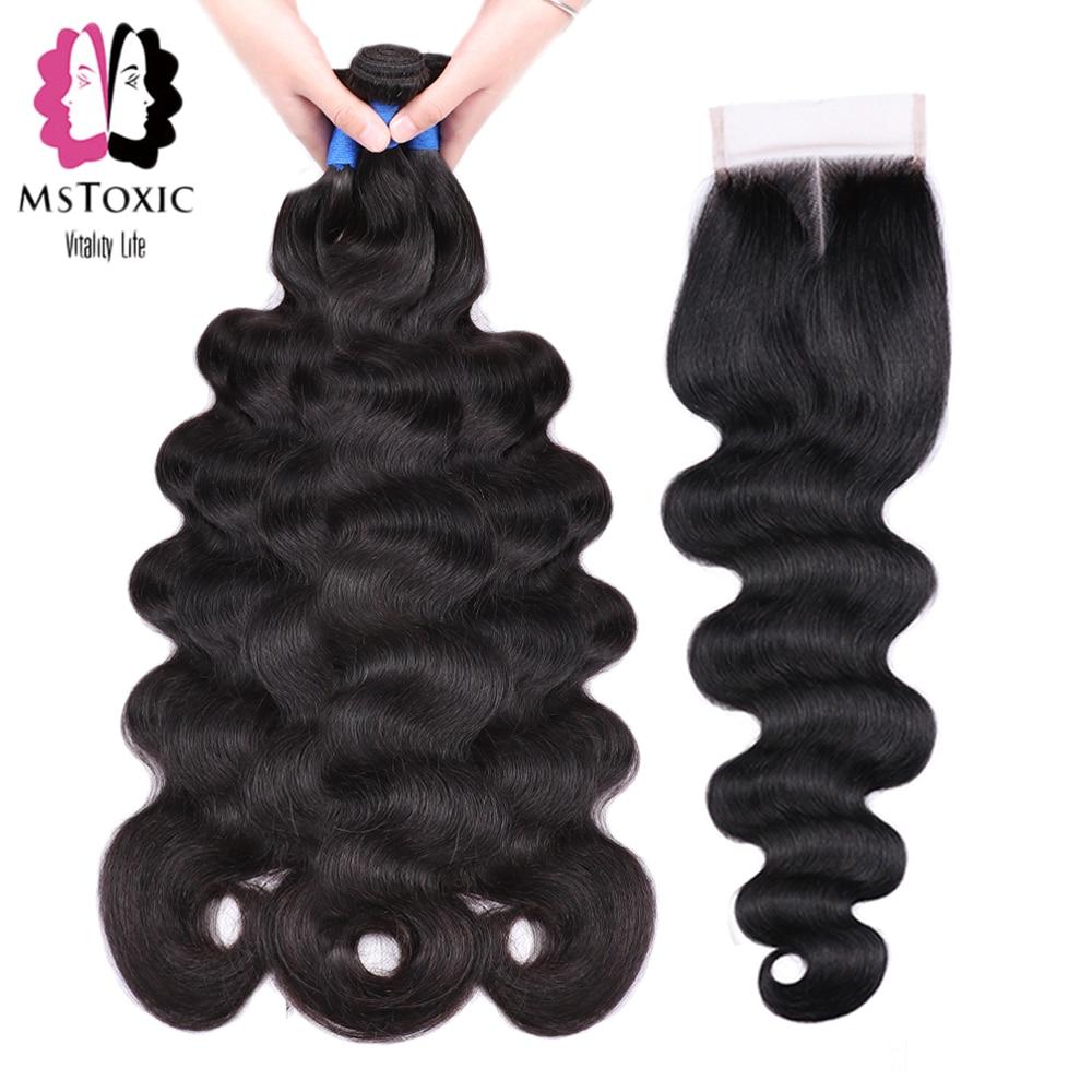 Mstoxic Peruvian Body Wave Bundles With Closure 30inch 32 34 36 38 40inch Remy Human Hair