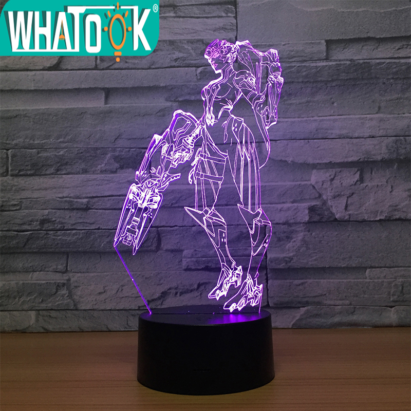 Overwatch Widowmaker 3D Desk Lamp 7Color Changing 3D Night Light Character Model Illusion Bulbing Lamp With Touch Butoon Usb Led