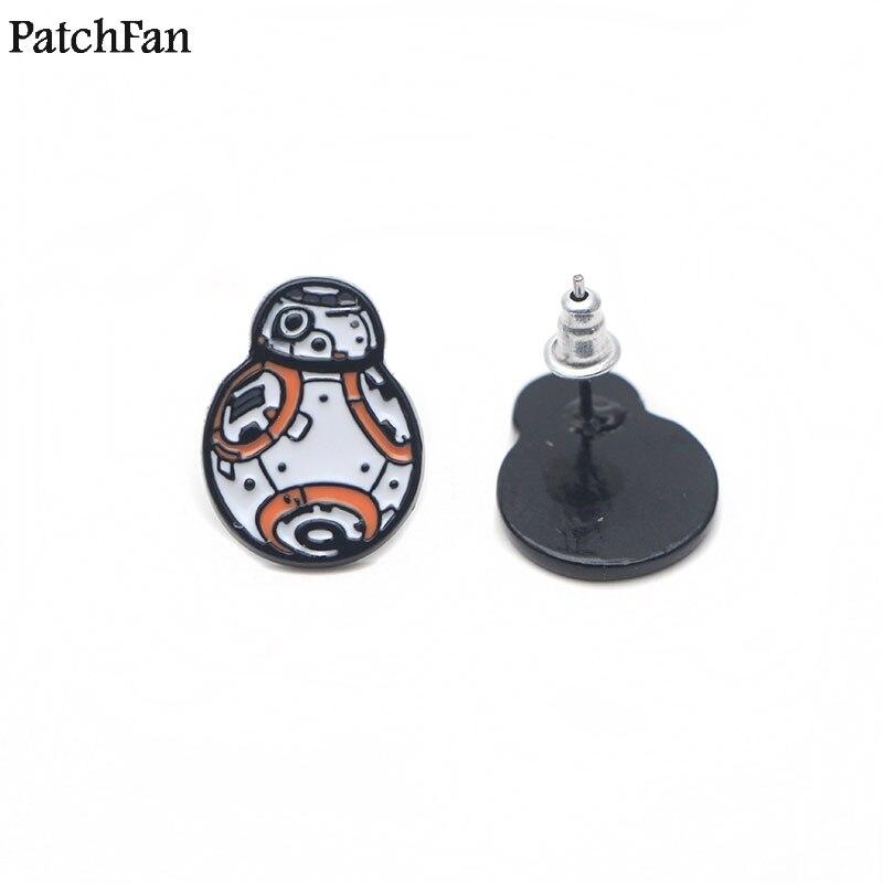 12 paires/lot Patchfan star war Robot BB-8 mignon boucles d'oreilles émail Charme creative par partie faveur femmes Souvenir cadeaux bijoux A1279