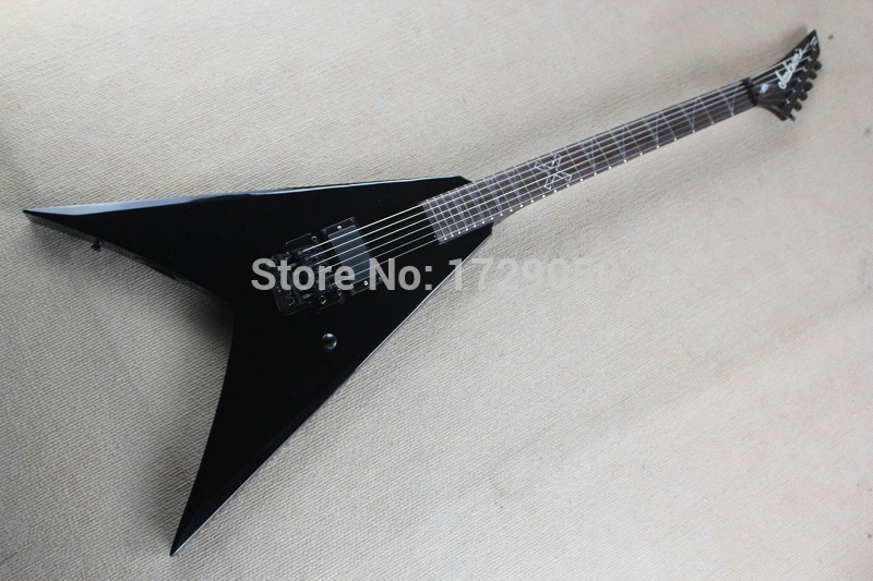 free shipping china Custom shop Top Quality ackson flying V electric guitar black with Active pickups 930 china custom shop black flying v electric guitar 6 string guitar with ebony fingerboard china lefty guitar custom available