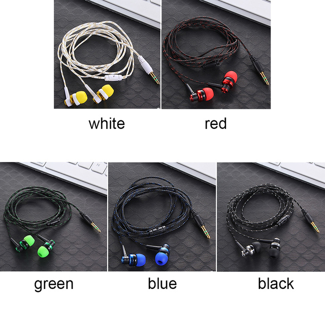 High Quality Wired Earphone Brand New Stereo In-Ear 3.5mm Nylon Weave Cable Earphone Headset With Mic For Laptop Smartphone  & 4