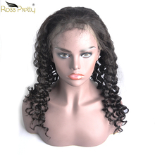 Ross Pretty Remy lace front human hair wigs Natural Color 1b Peruvian Deep Wave Hair Wig Baby and Pre Plucked