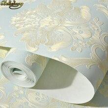 Beibehang papel tapiz autoadhesivo de Damasco en relieve europeo para paredes, papel de pared 3D, decoración de sala de estar, dormitorio, 53x300cm