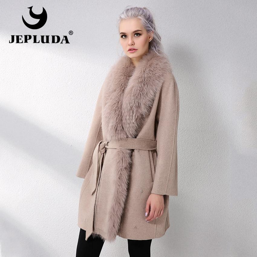 JELUDA Vendita Calda Cappotto di Cachemire Donne Sciarpa Collare Con Naturale Reale della Pelliccia di Fox Cappotto di Pelliccia Reale del Cuoio Genuino Delle Donne del Rivestimento cappotto
