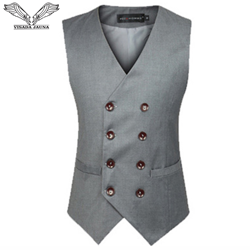 VISADA JAUNA 2019 Men's Suit Vest Men Fitness Sleeveless Solid Color Business Casua Male Jacket Big Size 6XL N5045