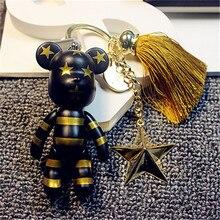2017 NEW Full Rhinestones Gloomy Bear Key Ring Cross Keychain Lovely Holiday Gifts Car Keyring Tassels Star Key Chain chaveiro