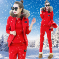 2016 Fashion Women Sweatsuit Set Thick Warm Fur Vest Coat & Hoodies & Long Pants 3 Piece Tracksuit Casual Autumn & Winter Suit