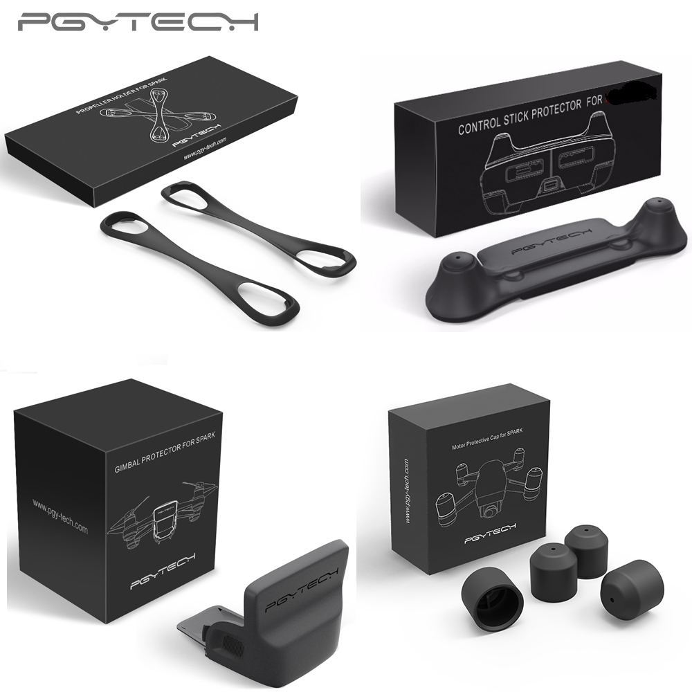 PGYTECH Gimbal Lens Sunhood Sunshade+Propeller Stabilizer Fixing +Motor Cap +Remote Control Thumb Stick Protector for DJI Spark pgytech p gm 109 mobile phone sunshade
