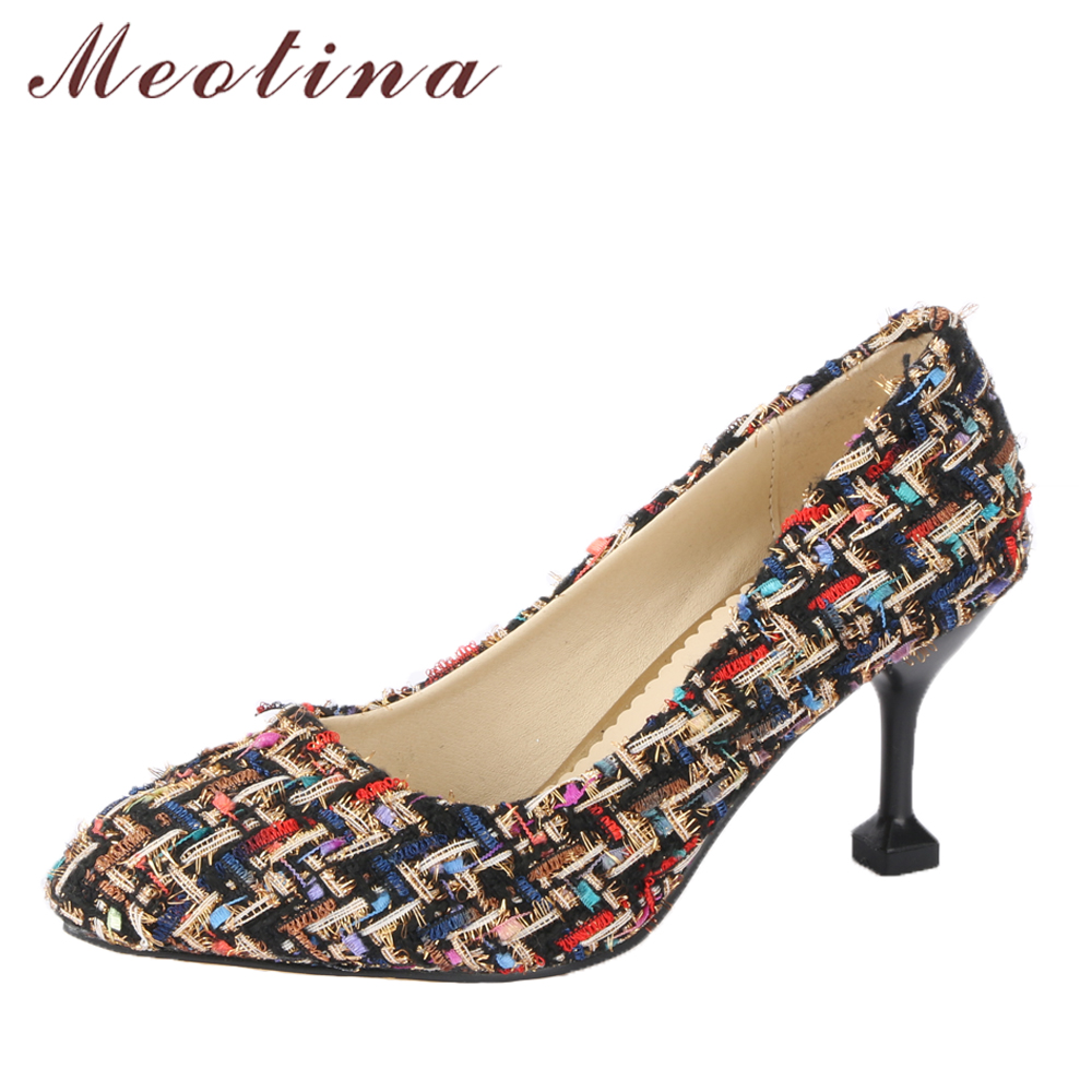 Meotina Women Pumps High Heels Plaid Pointed Toe Shoes Kitten Heel Lady Party Shoes Black 2018 Spring Shoes New Large Size 33-43 meotina high heels shoes women pumps party shoes fashion thick high heels pointed toe flock ladies shoes gray plus size 10 40 43
