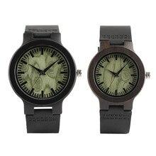 Мода Пара Lover Наручные часы ручной ремень из натуральной кожи круглые деревянные циферблат Кварцевые часы творческие подарки Relogio