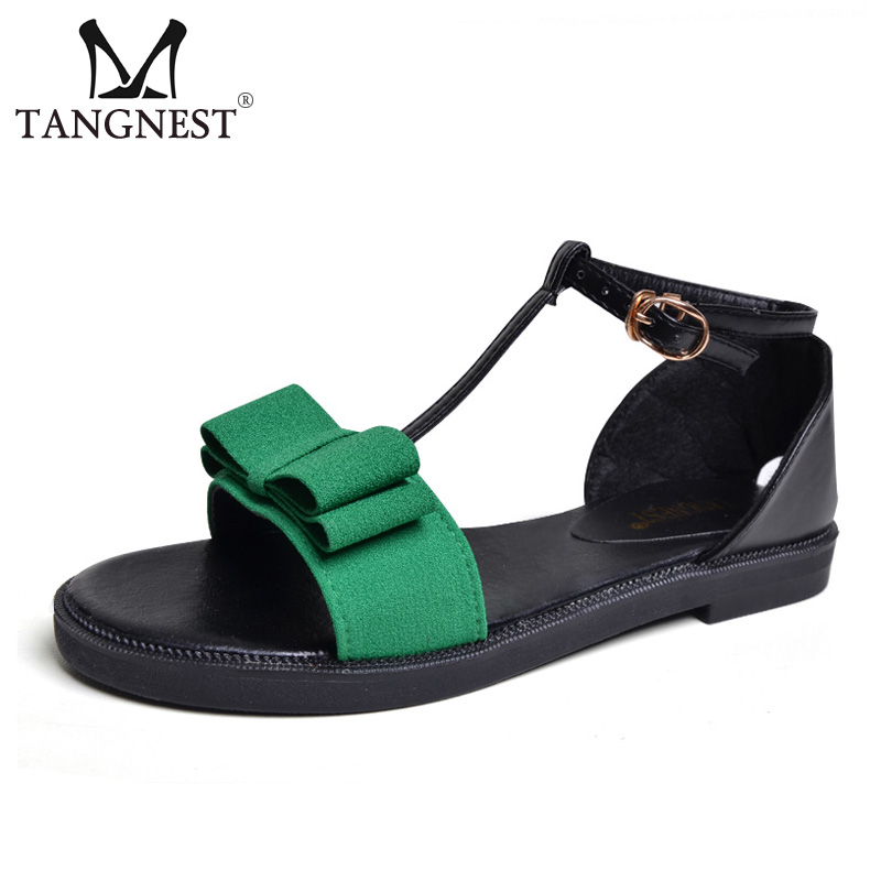 Tangnest New 2017 Summer Women Sandals Sweet Bowtie Women Flat With Sandals Female Buckle Strap Sandals Beach Flat Shoes XWZ3828 phyanic 2017 summer new women sandals with chain women buckle strap flat platform summer casual shoes woman phy3413