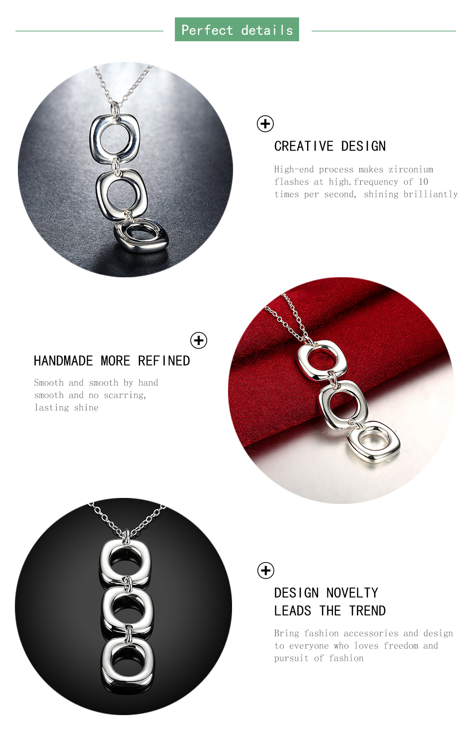 925 Silver Jewelry Hollow Square Pendants Long Necklaces Chains For Women Love Gifts