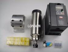CNC spindle kit ER20 2.2KW air cooling spindle + 1 pieces 2.2KW VFD inverter+ ER20 collets+spindle support+CNC engraving bits