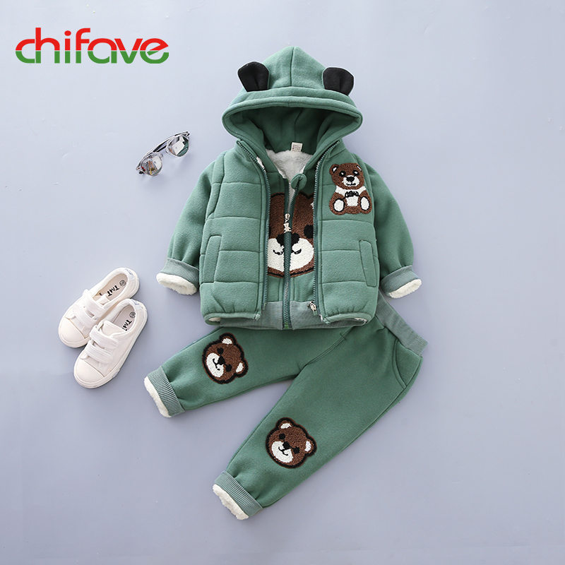 Chifave New Baby Boys Girls Sets 3 Pieces Winter Warm Hooded Bear Ears Kids Girls Boys