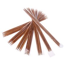 28Pcs In 7Sizes 14.2in Smooth Carbonized Bamboo Double Pointed Straight Knitting Needles Set Sweater Knitwear DIY Tools