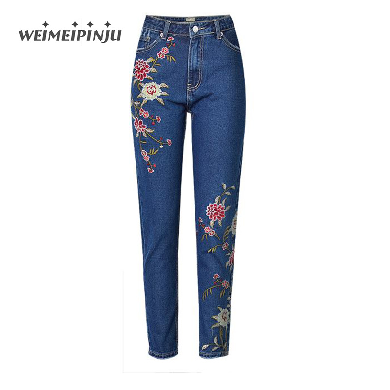 Skinny Jeans For Women 2017 Autumn  Embroidered Flowers Cotton Denim Ripped Pants Big Sizes High Waist Pencile Jeans Overalls gkfnmt 2017 women embroidery sequnis letter denim suspenders jumpsuits ripped jeans overalls casual summer pants big sizes